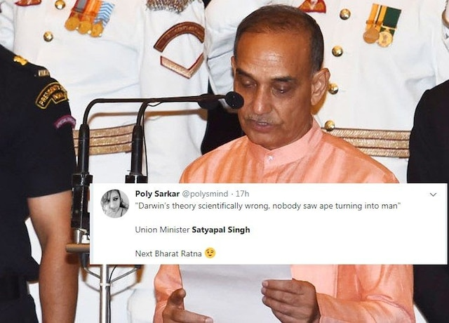 BJP Minister challenges Darwin's theory of evolution, says nobody saw apes turning into man,Twitter can't stop laughing at this