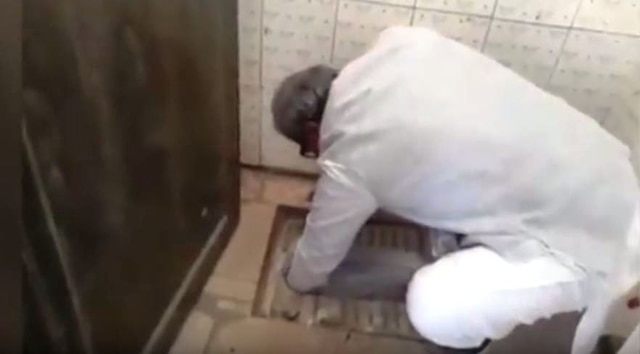 Watch: BJP MP Janardan Mishra cleans toilet during school visit