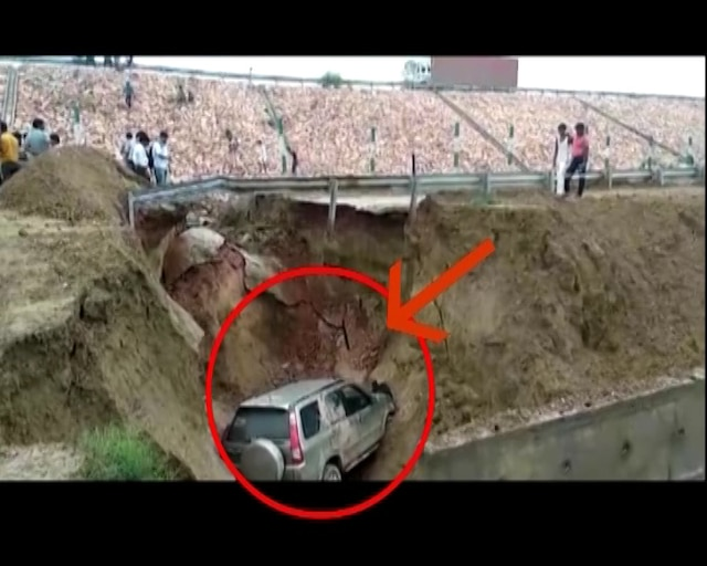 Road caves in on Agra-Lucknow Expressway; car carrying 4 gets stuck