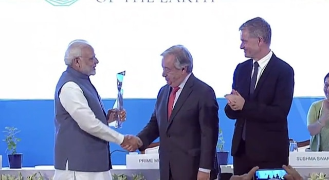 PM Modi receives 'United Nations Champions of the Earth' award.