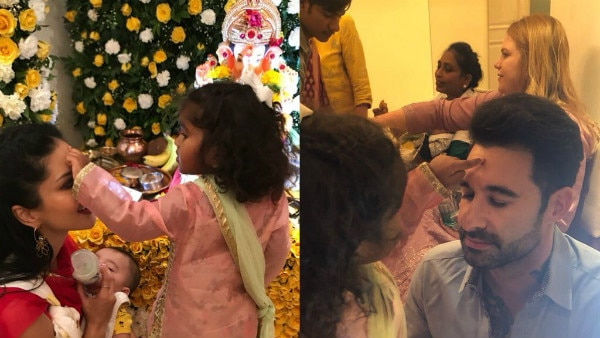 Ganesh Chaturthi 2018, Day 2: Sunny Leone with her kids & hubby Daniel Weber seeks blessings from 'bappa'!