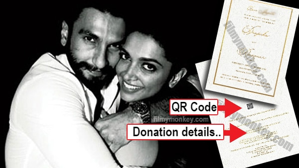 Deepika Ranveer Wedding Reception Card to media has a QR code for security & appeal for donation!