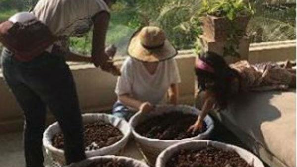 Baby Nitara and mom Twinkle setting up the organic garden:Check pics inside!