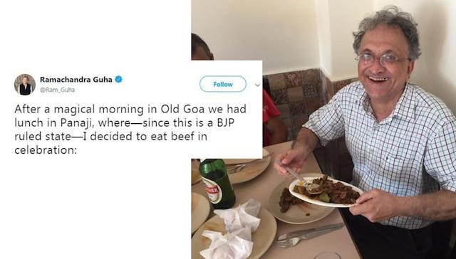 From BJP ruled Goa, Ramchandra Guha shares beef eating celebration photo; gets trolled on Twitter