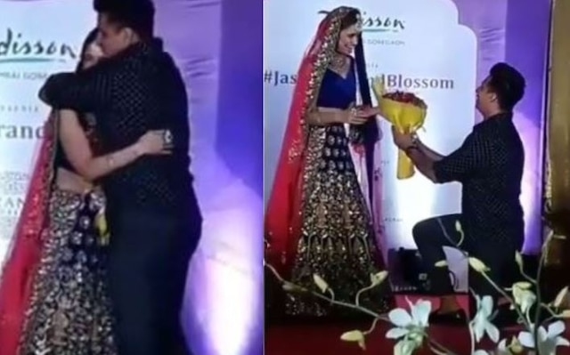 Prince Narula gest down on his knees for Yuvika during a Ramp show