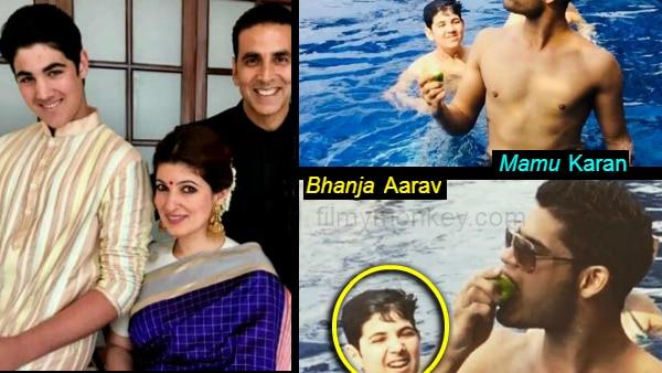 Twinkle's cousin Karan Kapadia pokes fun at nephew Aarav Kumar with pool throwback pics!