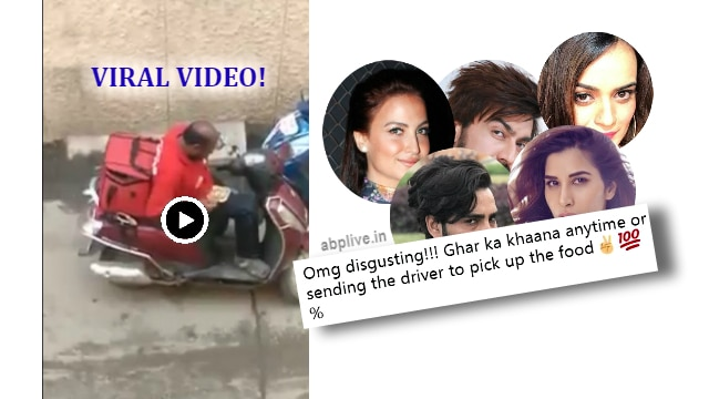 Bollywood celebrities SHOCKED at the viral video of Zomato delivery boy eating from the sealed food packs! Company takes action, suspends the man!