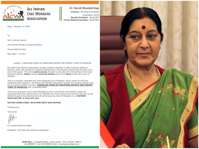 Pulwama terror attack: All Indian Cine Workers Association writes letter to Sushma Swaraj asking for visa cancellation & deportation of Pakistani artistes!