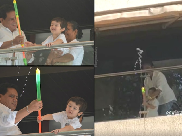 Happy Holi 2019: Taimur Ali Khan throws water at the paps with pichkari from his balcony!