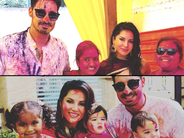 Holi 2019: PICS! Sunny Leone, her 3 kids Noah, Nisha, Asher and husband Daniel Weber celebrate