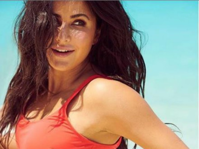 Katrina Kaif in red & blue swimsuit in beach pictures from Maldives
