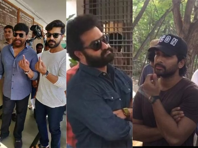 Lok Sabha Elections 2019 Baahubali director Rajamouli Chiranjeevi Ram Charan cast their votes in Hyderabad Proudly share inked finger