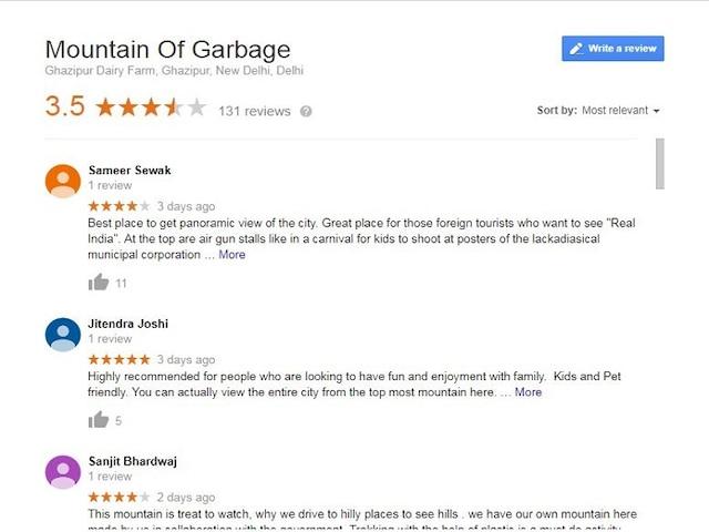 Ghazipur garbage dump getting rave reviews on Google