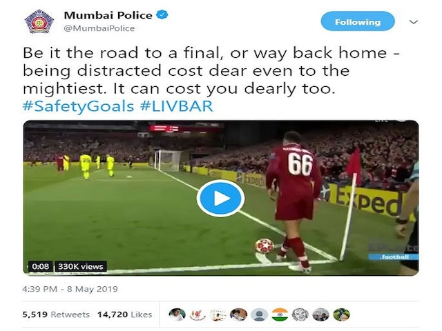 Mumbai Police uses Liverpool's fourth goal against Barca to promote road safety