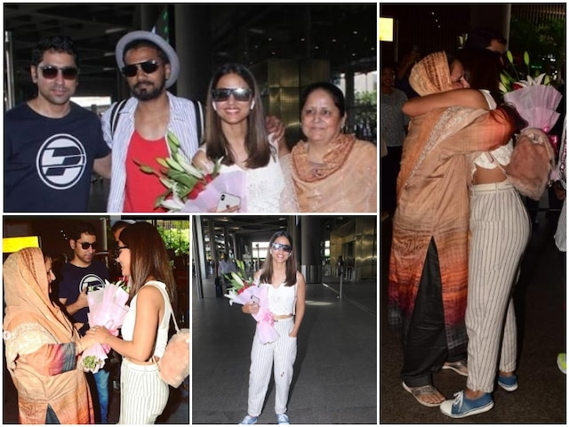 TV actress Hina Khan returns to India with boyfriend Rocky Jaiswal; Receives a surprise welcome from mom & brother!