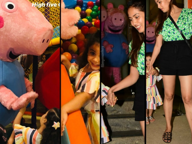 Mira Rajput's daughter Misha Kapoor has fun meeting favorite cartoon character Peppa Pig at a party, mom-daughter duo looked happy returning home too!