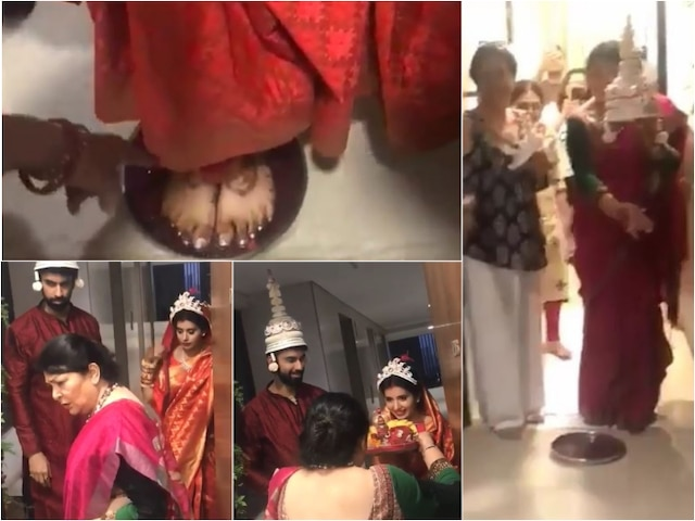 Rajeev Sen-Charu Asopa wedding: Newlywed TV actress 'griha pravesh' by Sushmita Sen's family in a traditional Bengali rituals!