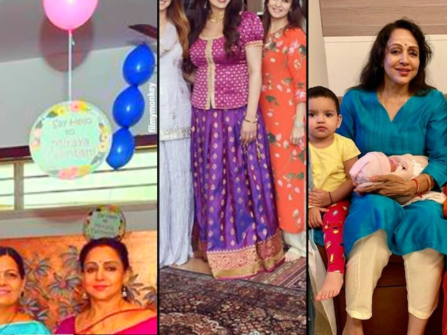 Esha Deol shares pic from newborn daughter Miraya Takhtani's welcome function, dons traditional South Indian dress pattu pavadai posing with mom Hema Malini & other family members