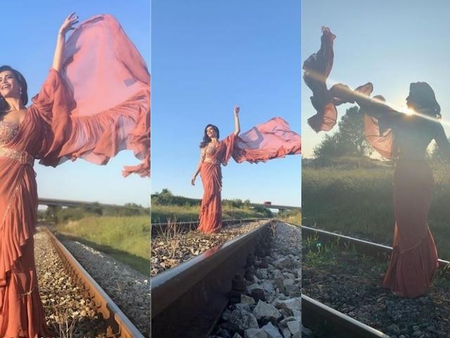 Khatron Ke Khiladi 10: TV Actress Karishma Tanna Looks Stunningly Gorgeous While Posing In Sari On A Railway Track!
