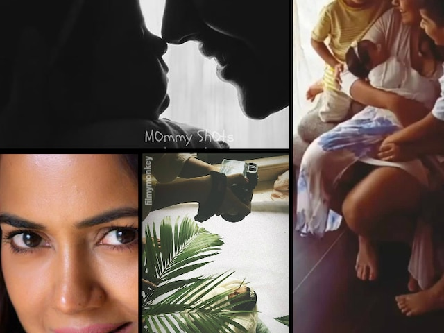Sameera Reddy gets photo shoot done for her 1 month old newborn baby girl daughter Nyra Varde turning her into a white flower