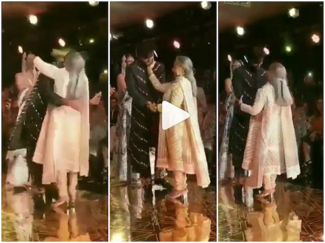 WATCH: Jaya Bachchan Runs On Ramp To Hug Granddaughter Navya Nanda's Rumoured Boyfriend Meezan Jaffery At Abu Jani And Sandeep Khosla's Fashion Show!