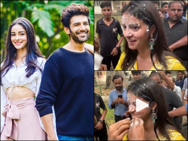 Pati Patni Aur Woh: Kartik Aaryan Smears Cake On Ananya Panday's Face After Wrapping Up Lucknow Schedule (VIDEO)