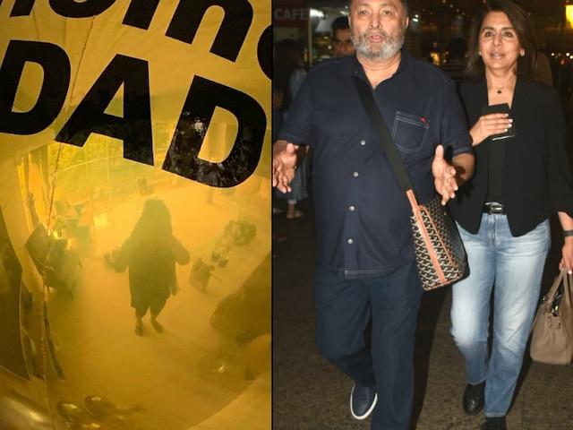 Rishi Kapoor receives warm welcome back home in Mumbai, Ranbir Kapoor-Riddhima put up a balloon saying