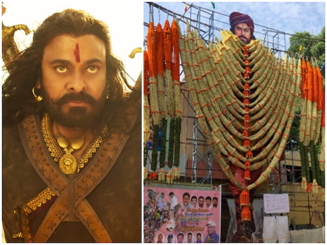 Fans Garland Cut-Out Of Chiranjeevi As 'Sye Raa Narasimha Reddy' Releases Today! See Picture!