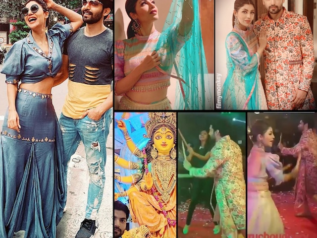 Durga Puja 2019: Gurmeet Choudhary and Debina Bonnerjee celebrate in Kolkata, Play garba and dandiya dance together!