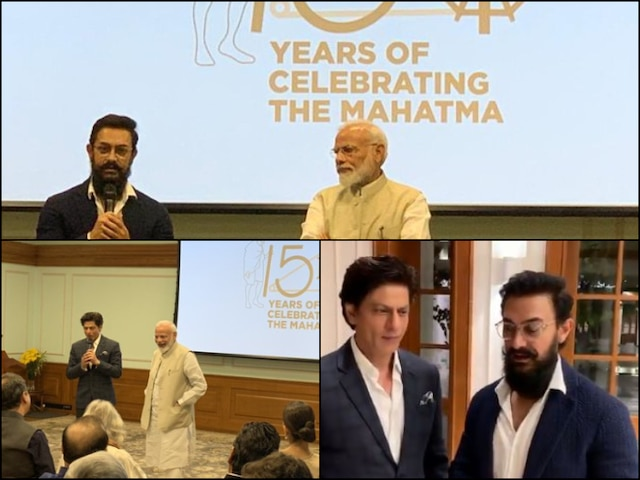 PICS & VIDEO: PM Narendra Modi Interacts With Shah Rukh Khan, Aamir Khan & Other Celebs At Event Celebrating 150 Years Of Mahatma Gandhi
