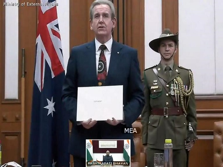 India's Envoy To Australia Barry O'Farrell Presents Credentials To President Via Videoconferencing