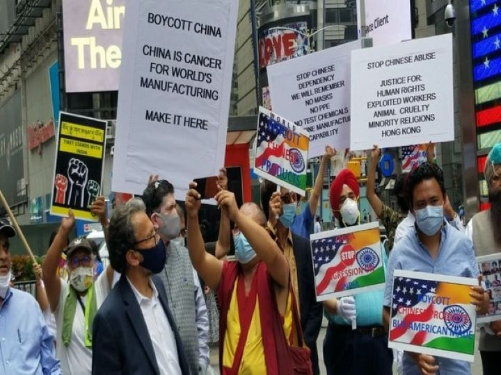 'Boycott China', Indian Americans, Taiwanese, Tibetans Protest Together At Times Square