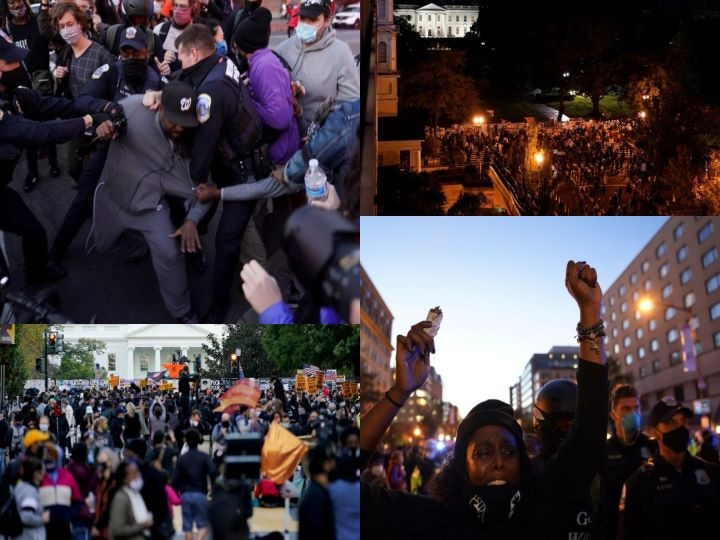 In Pics| People Protest Outside White House On Election Day Holding 'Black Lives Matter' Placards, Raise Slogans Against Trump