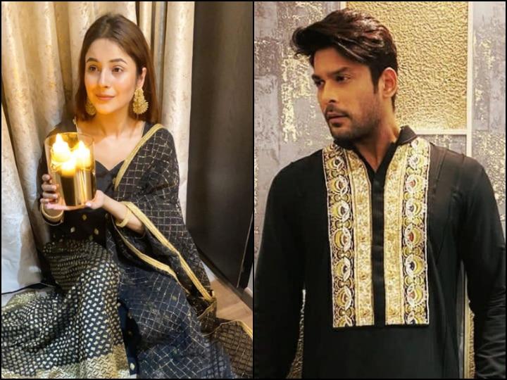 PICS: Bigg Boss 13's Shehnaaz Gill Wears Fan-Gifted Dress On Diwali; Sidharth Shukla Looks Dapper In Black