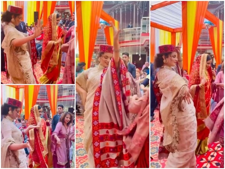 Watch: Kangana Ranaut Dances Her Heart Out To A Folk Song At Brother Aksht's Wedding Reception