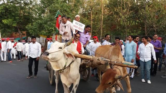 Sp leader pratipal Singh protested against petro-diesel price hike