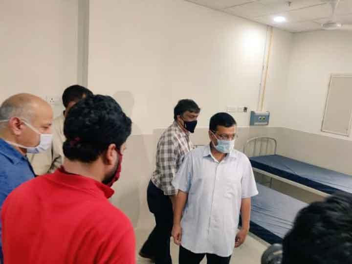 Arvind Kejriwal visits 450 bed hospital in Burari, treatment will start soon ANN