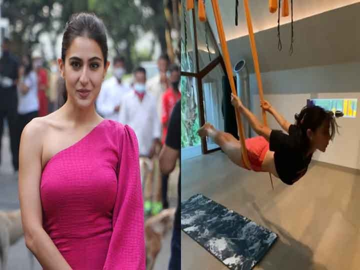Sara Ali Khan surprised fans by doing yoga while swinging in the air, the video went viral on the Internet