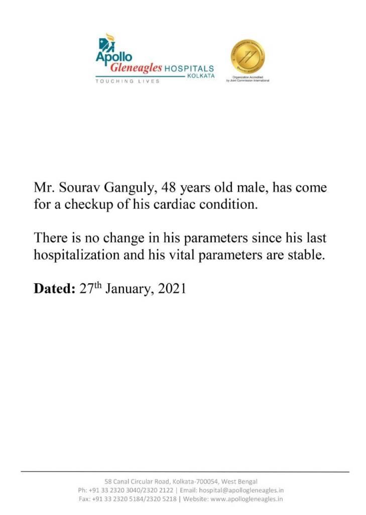 Sourav Ganguly Health: রিপোর্টে নতুন কিছু ধরা পড়েনি, ভাল আছেন সৌরভ, জানাল হাসপাতাল কর্তৃপক্ষ